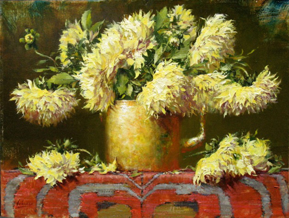 Dahlias in a Russian Teapot by Robert Johnson, OPAM