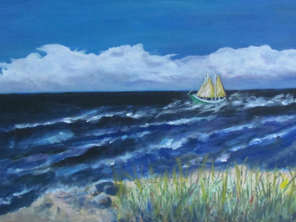 Off shore Sailing in Lake Michigan, Acrylic on Canvas