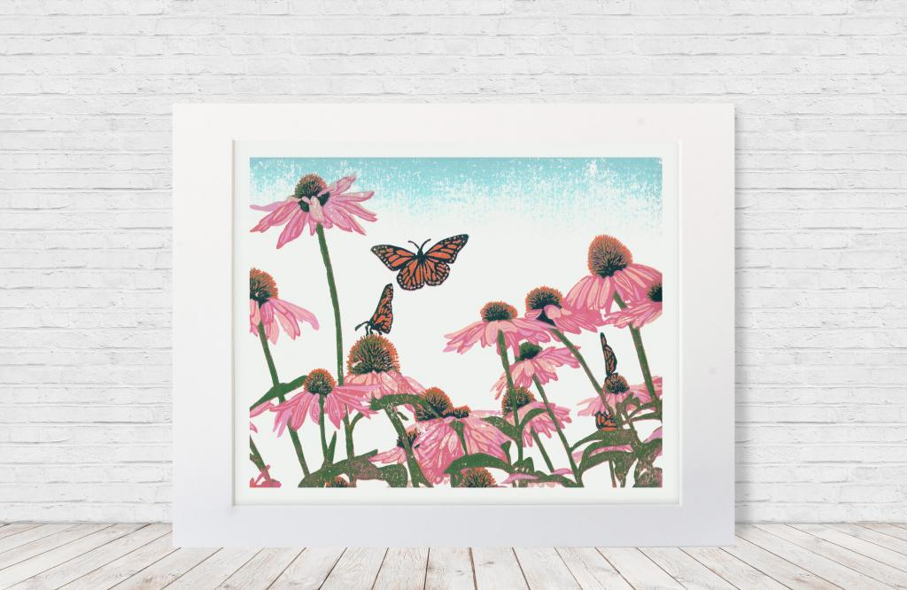 "Seven-color 10""x8"" linoleum reduction block print of a butterflies on pink coneflowers. Made in 2019."