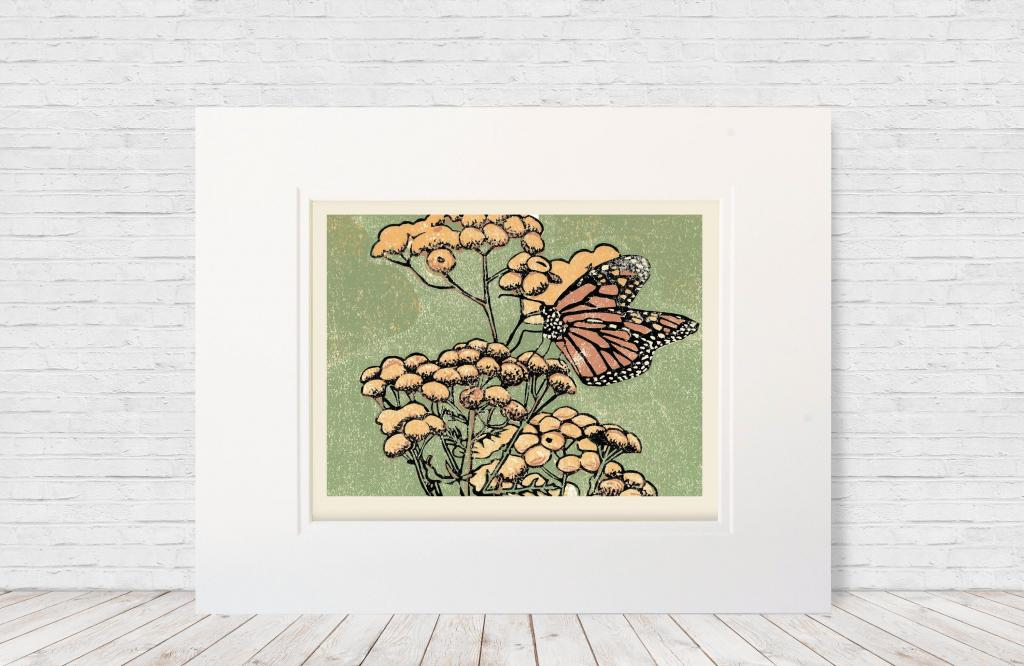 "Four-color 8""x10"" linoleum multi-block print of a monarch on yellow tansies. Made in 2018."
