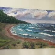 Lake Michigan shoreline oil painting at Sleeping Bear National Park