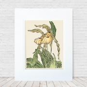 "Hand-colored 6""x8"" linoleum block print of two yellow Lady's Slippers. Made in 2018."